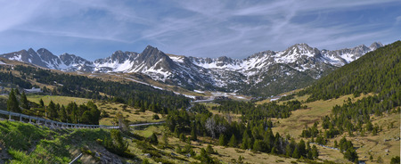 tourism in andorra: Panorama of Andorran Pyrenees at Grau Roig Encamp with Pessons circus at right and Pic del Cubil Baix other and peaks at left.