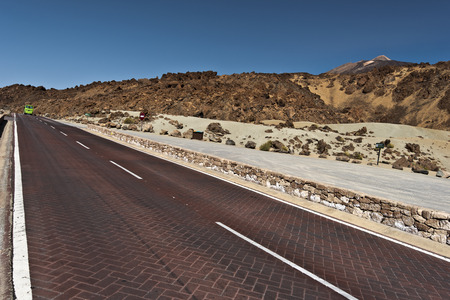 flank: Road across Tenerife national park crossing the landscape of northern flank of Teide Volcano Stock Photo