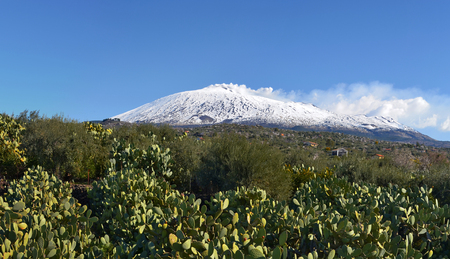 View of active volcano Mount Etna in winter, hills covered with cactus Opuntia and gardens are at foreground, the smoke from the volcano is mixing with white clouds in background sky