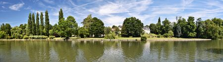 chantilly: Grand Chanal or Big Channel panorama seen from English Garden in Chantilly Castle Park, Oise, France