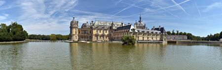 chantilly: Panorama of the Northern share of Chantilly castle with the stave at foreground Editorial