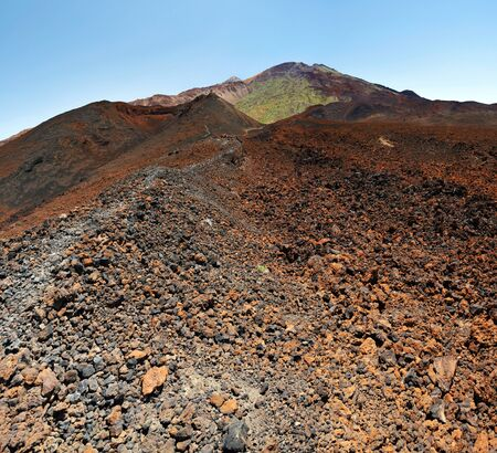 viejo: Details of the slope and volcanic craters of Pico Viejo Situated in west of Mount Teide National Park, Tenerife Island, Spain. The pattern is washed at foreground Stock Photo
