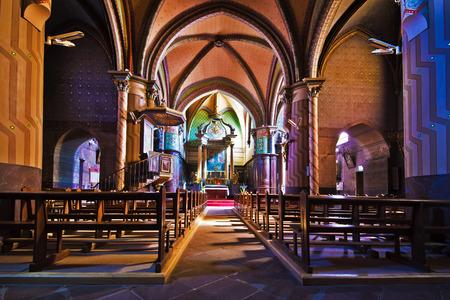 st jacques: Inside of Sainte-Marie de Roquefort Church, the roman-catholic church in Roquefort des Landes, in the pilgrimage way of Saint-Jacques-de-Compostelle, Aquitaine, France Editorial