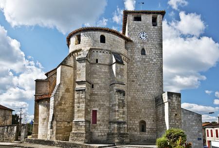 pilgrimage: Sainte-Marie de Roquefort Church, the roman-catholic church in Roquefort des Landes, in the pilgrimage way of Saint-Jacques-de-Compostelle, Aquitaine, France