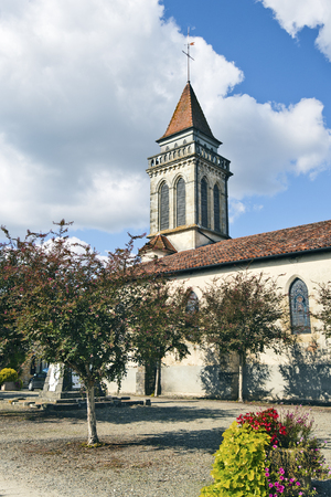 gascony: Saint Andre church in Saint Justine medieval bastide city in Landes, Aquitaine, France