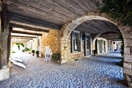 aquitaine: Bastide Gallery architectural details in Labastide d Armagnac, typical ancient bastide in Landes, Aquitaine, France