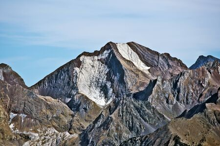 Western flank of Peak Enfer 3082 m is a cusp of Tena valley in Spanish Pyrenees seen from Vertice Anayet