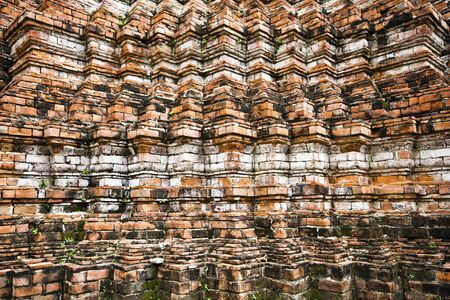 brig: Architectural background in Ayutthaya historical park, the wall made with bricks, lokayasutharam at Wat Temple in Thailand