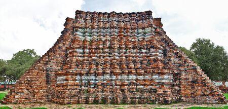 brig: Ancient Architectural part, made with bricks, at Wat lokayasutharam Temple in Ayutthaya Stock Photo