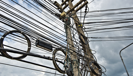 wire mess: Typical Cable and wires of Urban energy supply grid in Asian agglomerations