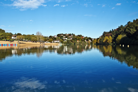 aquitaine: Landscape of Saint-Pee-sur-Nivelle Lake in French Basque Country, Province of Labourd, Atlantic Pyrenees, Aquitaine, France Stock Photo