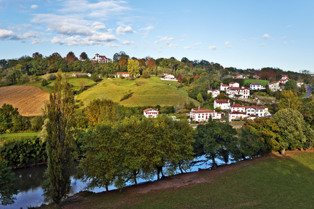province: Countryside of Cambo-les-Bains, French Basque country town Situated in Province of Labourd, Atlantic Pyrenees, Aquitaine, France, in the valley of river Nive Stock Photo