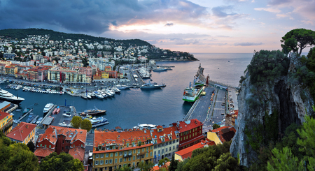 boron: Panorama of Nice Port Limpia via Mont Boron and Cap de Nice from the Castle Hill before sunrise, Provence-Alpes-Cote d Azur, France