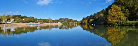 aquitaine: Panoramic view of Saint-Pee-sur-Nivelle Lake in French Basque Country, Province of Labourd, Atlantic Pyrenees, Aquitaine, France Stock Photo