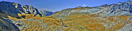 pyrenean: Panorama of the biggest Pyrenean circus Troumouse in French Pyrenees, seen from the slope of the breche Cle du Cure, Midi Pyrenees, France Stock Photo