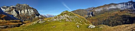 pyrenean: Panorama of the biggest Pyrenean circus Troumouse in French Pyrenees, Right southern flank with Peaks Bouneu 2726 m and Gabiedou 2809 m, left northern flank with peak Gerbats 2904 m, Midi Pyrenees, France