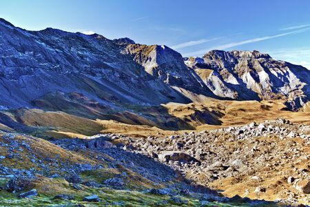 pyrenean: Panorama of Southern flank of Troumouse circus in French Pyrenees the biggest Pyrenean circus, Midi Pyrenees, France Stock Photo