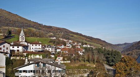 camino de santiago: Basque town Luzaide, Valcarlos in Spanish, in Navarre Pyrenees in Spain, situated on Camino de Santiago. Stock Photo