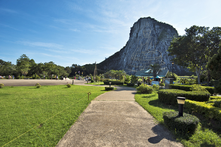 chan: Walk pass to Buddha mountain of Khao Chi Chan temple complex in south of Pattaya