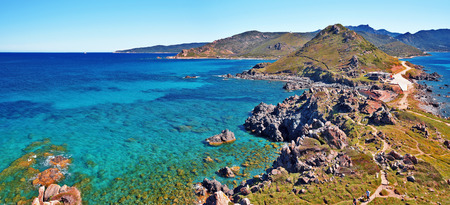 littoral: Panorama of Parata peninsula in western Corsica seen from Genoese Tower of Parata Point. Medeteranean see and Littoral of western Corsica are at background. Ajaccio, Corse-du-Sud, the west coast of the French island of Corsica