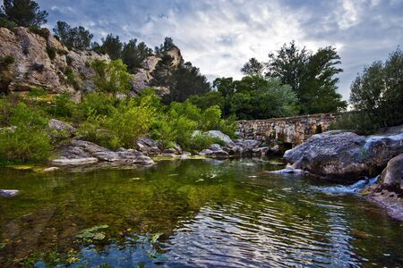 washbasins: Watercourse of La Cesse River in French Herault department, the river coming close to Agel village through rocky labyrinth, forming washbasins, Languedoc, Roussillon, France