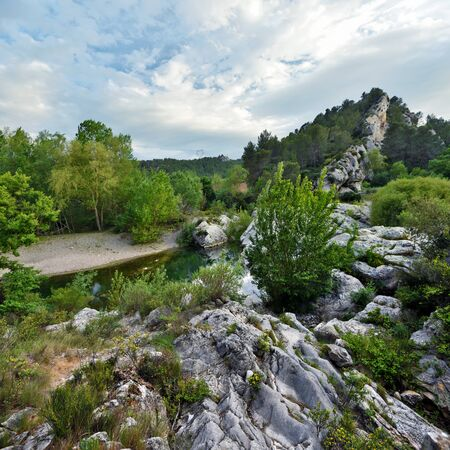 watercourse: Watercourse of La Cesse River in French Herault department, the river coming close to Agel village through rocky labyrinth, forming washbasins, Languedoc, Roussillon, France