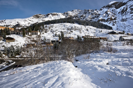 aquitaine: Landscape nearby Gourette mountain village in winter time in the Morning, Pyrenees, Aquitaine, France Stock Photo