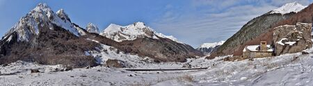 frontier: Panorama of highValley Ossau Pyrenees in winter. The road leads to Pourtalet pass to Spanich frontier. From right to left we Arrious May Recognize mountains, Wise, saudi, Midi Ossau, Moustarde. Bearn, Pyrenees-Atlantic, Aquitaine, France