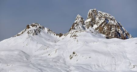 distinctive: Pic du Midi d Ossau in winter, distinctive shape makes this mountain a symbol of the French side of the Pyrenees. The picture is taken from east, from Pourtalet pass