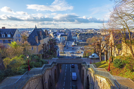 Le Mans cityscape facing north-west seen from Rempart street, Pays de la Loire, France. 写真素材