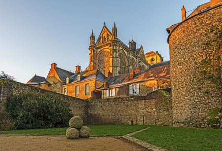 Saint Julian of Le Mans Cathedral in morning lights seen from the east, from Robert Triger Street, Loire Valley. Stock Photo