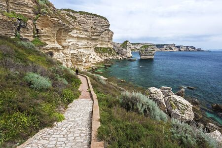 The Walk pass Bonifacio from the old city to the Sea cost offers close up view of the limestone cliffs. Corsica Island, France Stock Photo