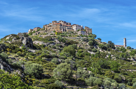View of Sant Antonino town in the top of the hill in Corsica Island, Corsica, France