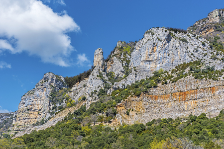 sierra: Rocks of Sierra de Leyre over the Monastery of Leyre in Spanish Pyrenees, Navarra region