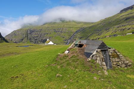Grassland near Saksun village of the Faroese island of Streymoy