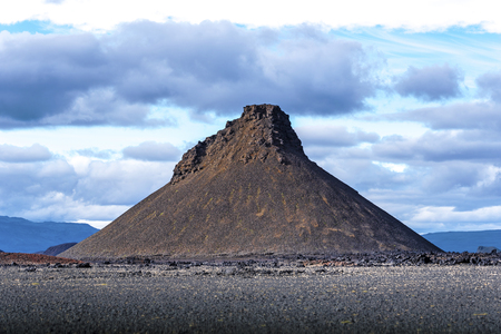 Mountain formation from extinct volcano in the lave desert of Odadahraun in north of Vatnajokull National Park of Iceland