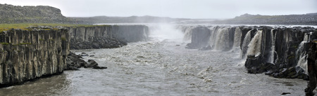 Panoramic view at Selfoss waterfall in Northern Iceland in upstream of Dettifoss.