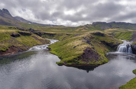 Landscape of Fossa river watercourse in Snaefellsnes peninsula of Western Iceland.