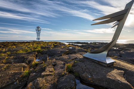 View at Sudurflos reefs and Akranes Lighthouse. Western coastline of Iceland