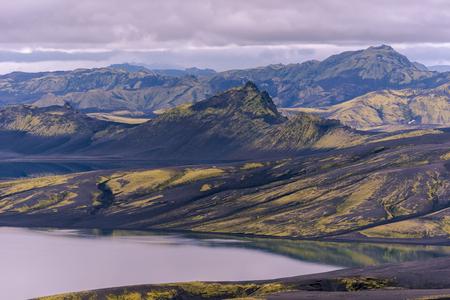 Landscape of Lakagigar Volcanic Crack Area at Lambavatn Lake Southern Highlands of Iceland.