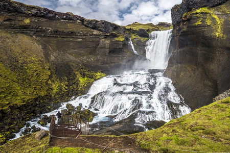 Balcony at Ofaerufoss waterfall in Eldgja Canyon, Southern Highlands of Iceland. The west of Vatnajokull National park.
