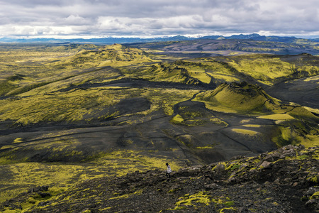 Southwestern part of Lakagigar volcanic crack as seen from the slope of Laki Volcano in South of Iceland. Фото со стока