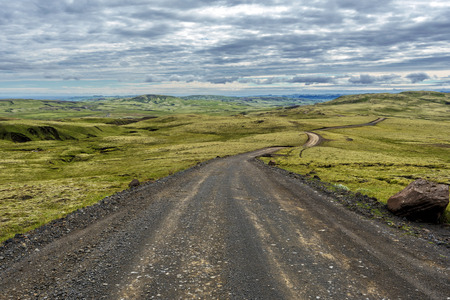Fjallabaksleid sydri F208 road viewed in the southern direction, the road crossing desert landscape of Icelandic Sudurland