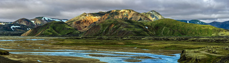 Panoramic view of Landmannalaugar valley and Mountain Landscape of Fridland ad Fjallabaki Natural park from Highlands of Iceland. Jokulgilskvisl river flow is at foreground.