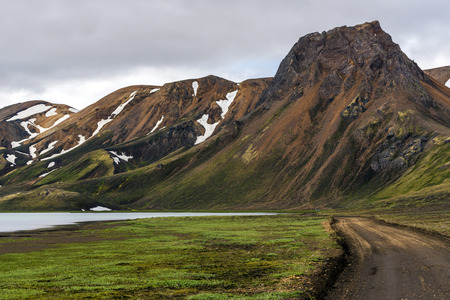 Fjallabaksleid norori road F208 in the east of Fjallabak Natural park in Iceland Highlands.