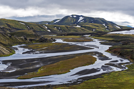 The valley of Tungnaa river in the southern Highlands of Iceland as seen from the East of Fjallabak Natural park.