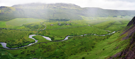 Panoramic view of Haukadalur Vally from Laudarfjall hill in Southwestern Iceland, Geysir area. 写真素材