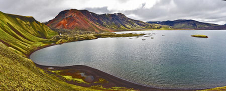 Panoramic view of Lake Frostastadavatn in Highlands of Iceland. Namshraun lava area is at left. Fridland ad Fjallabaki Natural park.