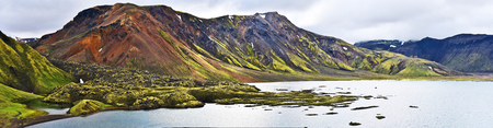 Panoramic view at Namshraun lava area and Frostastadavatn lake and in Highlands of Iceland. Fridland ad Fjallabaki Natural park. Фото со стока