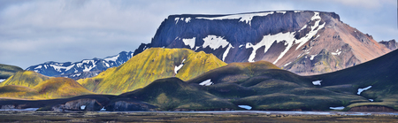 Mountain landscape of Fridland ad Fjallabaki Natural park seen from Landmannalaugar valley in Highlands of Iceland.
